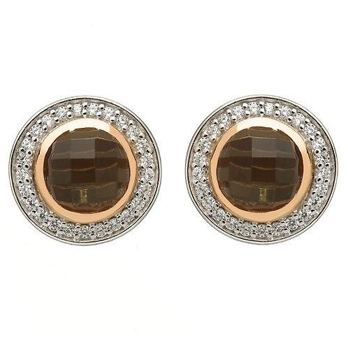 House of Lor Smoky Quartz & CZ Earrings with Irish Gold