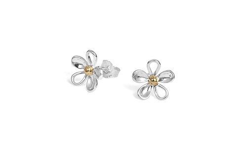 sterling silver daisy lace petal earrings with gold vermeil