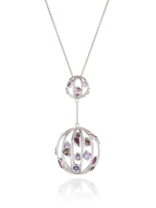 Orb Necklace -  Rhodium Plated Sterling Silver