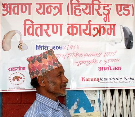 Deu Praksh with his hearing aid 2.jpg