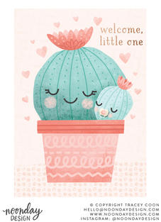 Welcome Little One Cactus New Baby Card Illustration
