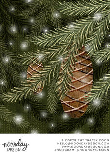 Evergreen Branches and Pinecones Illustration