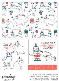 Kitten Birthday Party Surface Pattern Collection