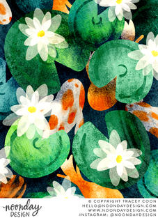 Koi Pond and Water Lilies Illustration