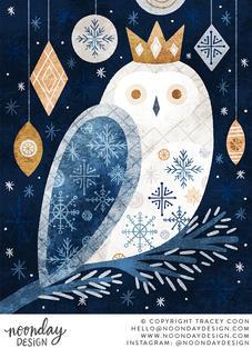 Snowy Winter Owl Christmas Illustration