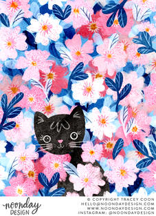 Peekaboo Kitty in Flowers Illustration
