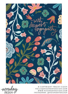 With Deepest Sympathy Floral Greeting Card Illustration