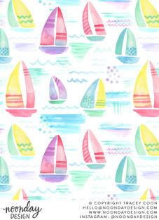 Watercolor Pastel Sailboats Surface Pattern