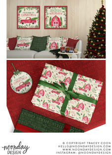 New England Christmas Watercolor Surface Pattern Collection
