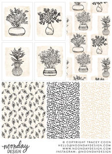 Neutral Coastal Illustration and Surface Pattern Collection