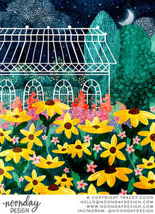 Night Garden Greenhouse and Floral Illustration