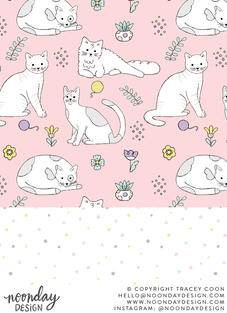 Pastel Cats Surface Pattern Collection