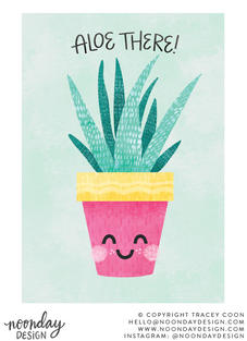 Aloe There Pun Greeting Card Illustration