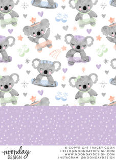 Koala Bear Ballerinas Children's Surface Pattern Collection