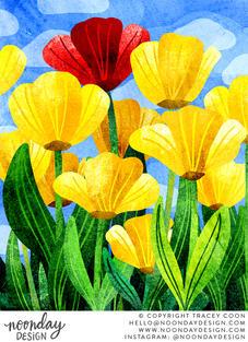 Field of Tulips Illustration