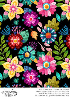 Bright Textured Flowers Surface Pattern