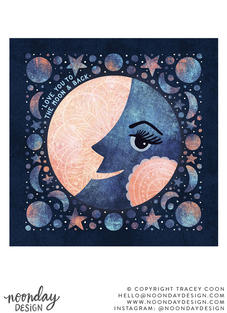 To the Moon and Back Lunar and Celestial Illustration