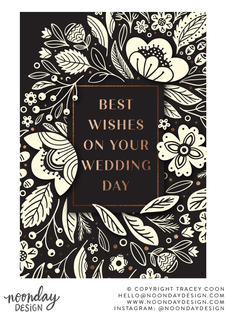 Best Wishes Creamy Floral Wedding Card Illustration