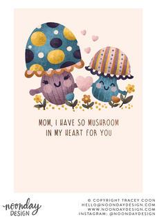 Mushroom Mom Mother's Day Card Illustration