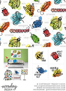 Watercolor Bugs Children's Surface Pattern Collection