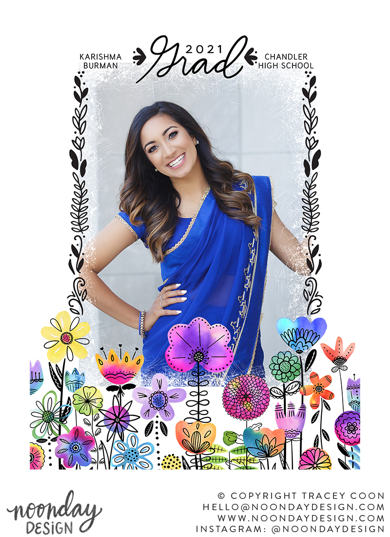 Watercolor Floral Frame Graduation Card