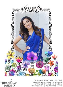 Watercolor Floral Frame Graduation Card