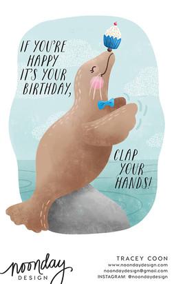 Sea Lion Birthday Card
