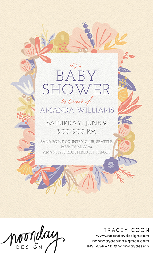 Sweet Floral Border Invitation