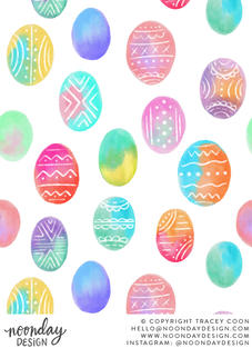 Watercolor Easter Eggs Surface Pattern