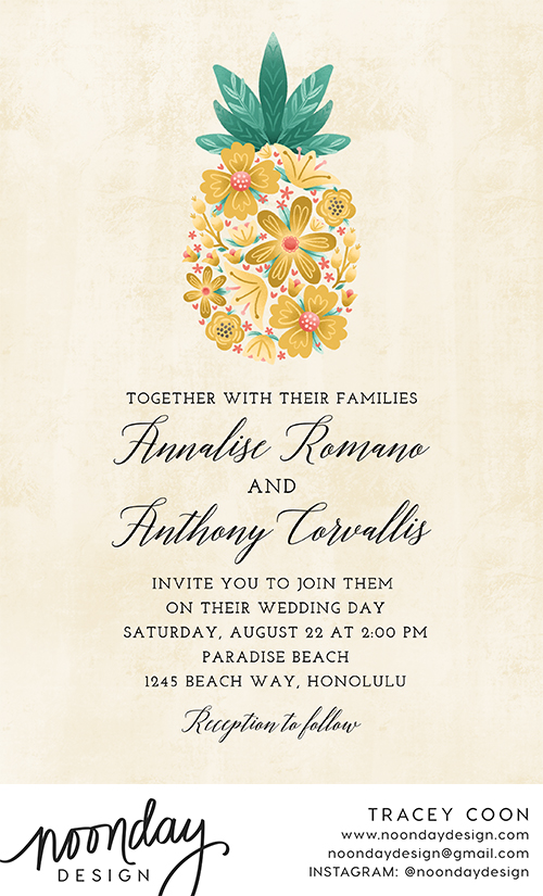 Floral Pineapple Invitation