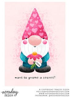 Gnome Valentine Valentine's Day Illustration