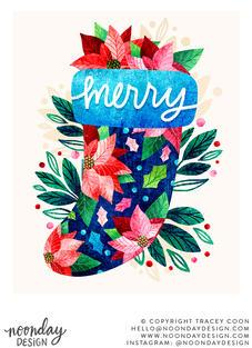 Merry Poinsettia Christmas Stocking Illustration