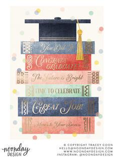 Book Stack Graduation Card Illustration
