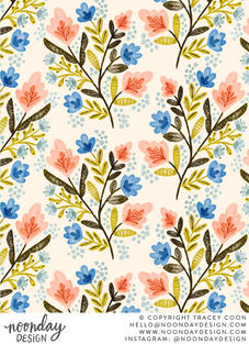 Peach and Blue Floral Surface Pattern