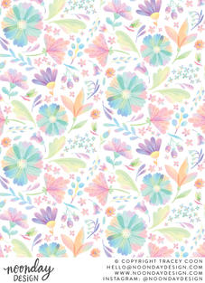 Rainbow Floral Surface Pattern