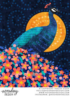 Majestic Floral Peacock Illustration