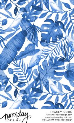 Blue Tropics Pattern Design
