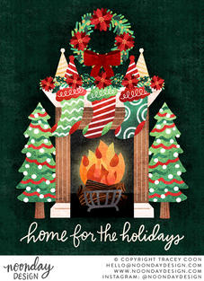 Home for the Holidays Fireplace and Stockings Illustration