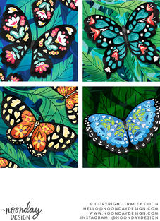 Tropical Floral Butterflies Illustrations
