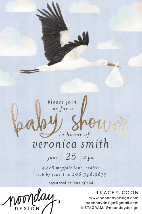 Stork Delivery Baby Shower Invitatio