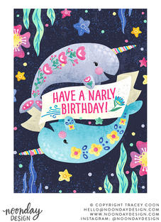 Narly Birthday Childrens Birthday Card Illustration