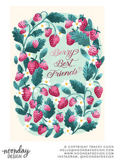 Berry Best Friends Strawberry Card Illustration