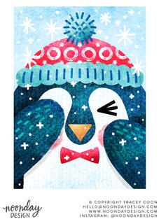 Peekaboo Penguin Winter Christmas Card Illustration