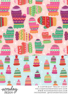 Winter Hats & Mittens Surface Pattern Collection