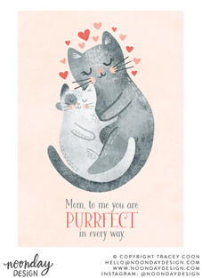 Purrfect Mom Mother's Day Card Illustration