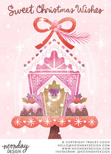 Sweet Christmas Wishes Gingerbread Card Illustration