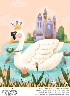 Royal Swan Pastel Retro Fairy Tale Illustration