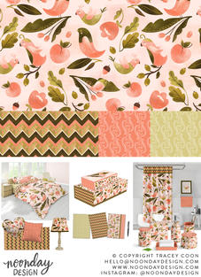 Peach and Olive Birds Surface Pattern Collection