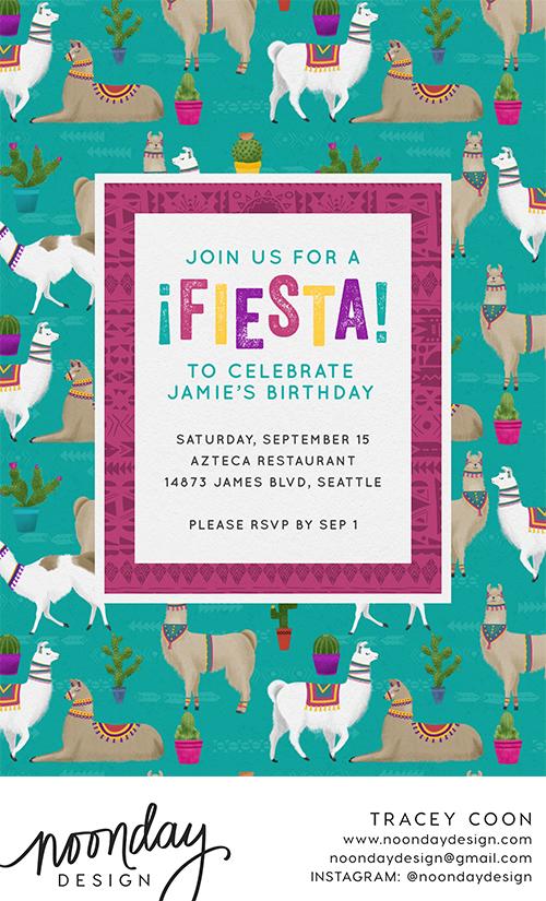 Llama Fiesta Invitation
