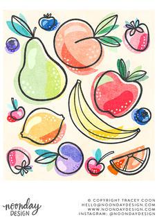 Funky Fruit Food Illustration